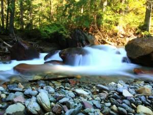 Postal: Piedras secas en el río