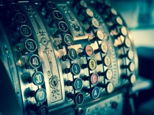 Postal: Antigua caja registradora