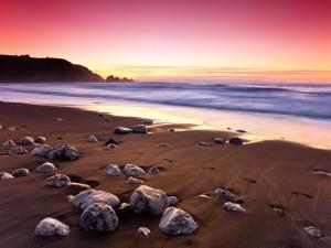 Postal: Piedras en la arena de la playa