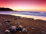Piedras en la arena de la playa