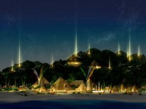 Postal: Noche estrellada en la aldea junto al mar