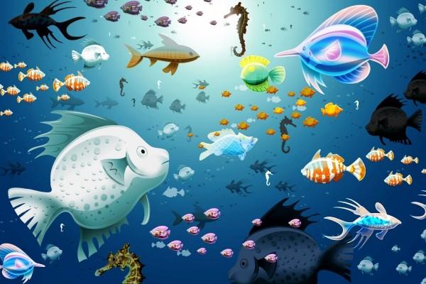 Mundo feliz de los peces en el fondo del mar