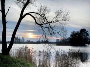 Postal: Paisaje en un lago