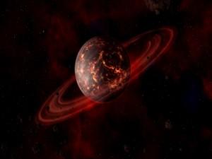 Postal: Planeta con anillos de color rojo