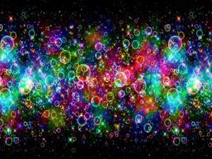 Postal: Burbujas brillantes de colores