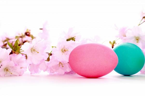 Dos huevos de pascua y flores