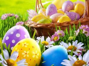 Postal: Huevos pintados para Pascua