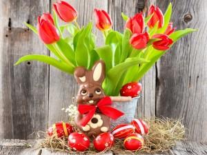 Conejo de chocolate y huevos para Pascua