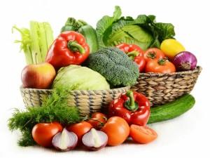 Postal: Cestas con verduras