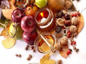 Frutas, frutos secos y miel