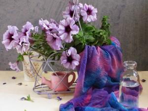 Postal: Bellas flores lilas