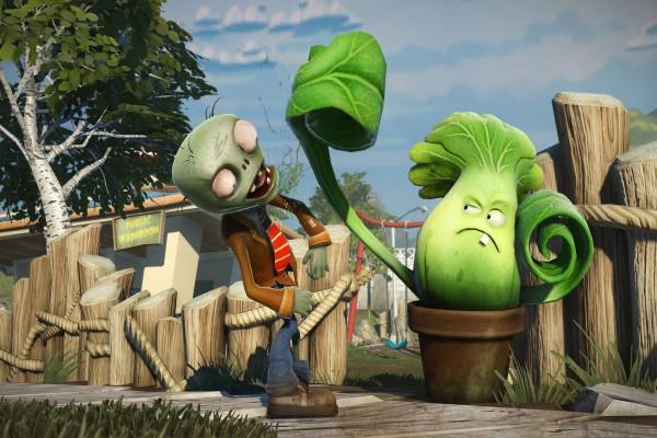 Planta golpeando a un zombie: Plants vs. Zombies Garden Warfare
