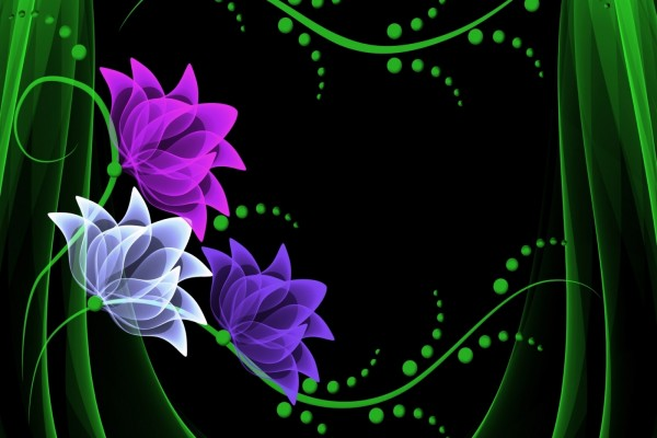 Flores abstractas en colores púrpura