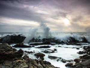 Espuma de mar entre las rocas