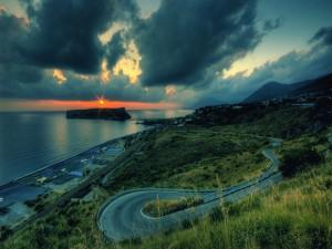 Postal: Vistas del atardecer y el mar