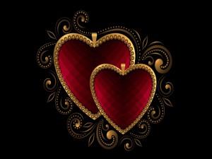Postal: Dos colgantes con forma de corazón