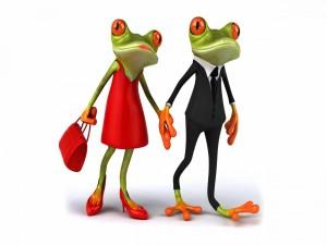 Postal: Pareja de ranas paseando de la mano