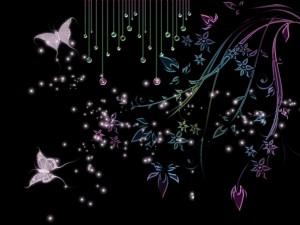 Hermosas mariposas y flores