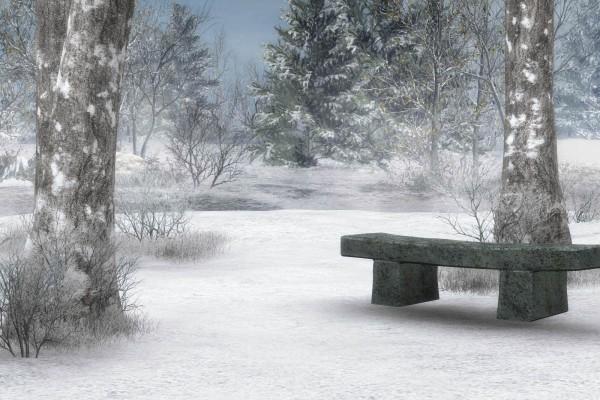 Banco de piedra, en un frío lugar