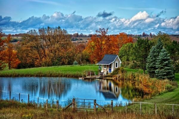 Pequeña casita junto al estanque