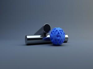 Dos tubos y una esfera azul