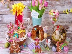 Postal: Elementos decorativos, para la celebración de Pascua