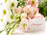 Ramo de flores, con un mensaje de amor