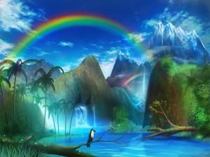 Postal: Un mundo de arcoíris