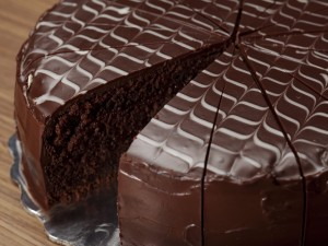 Postal: Tarta cubierta de chocolate