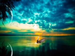 Postal: En barca por el lago