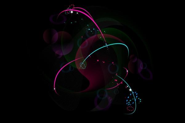 Formas y colores en fondo negro
