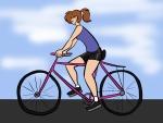Mujer deportista, en bicicleta