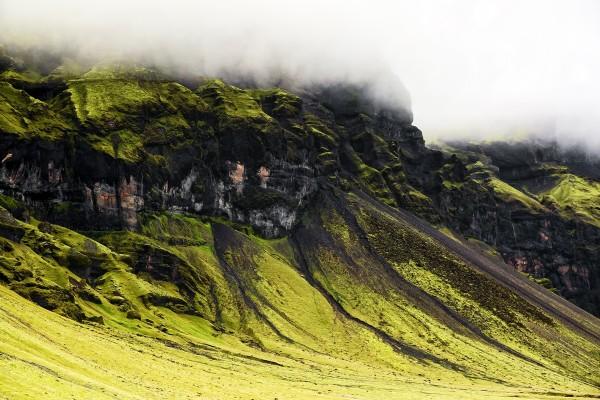 Niebla en la verde montaña