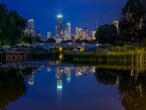 Postal: La ciudad vista desde, Lincoln Park (Chicago)
