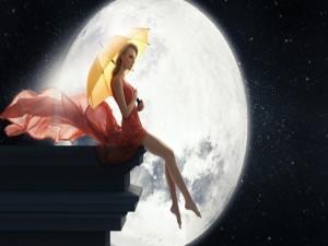 Postal: Mujer sentada cerca de la Luna
