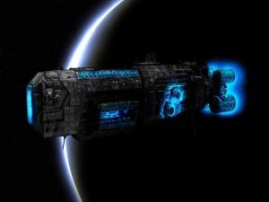 Postal: Gran nave por el espacio