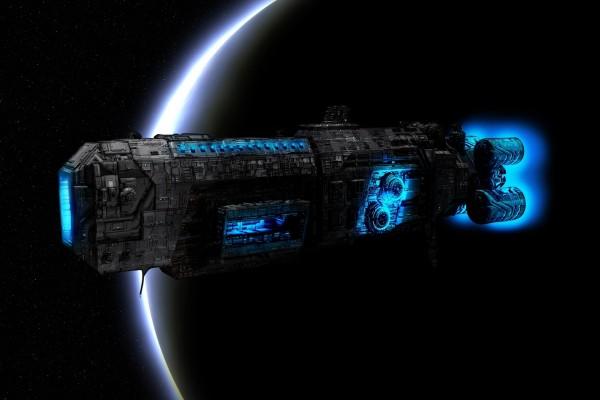 Gran nave por el espacio