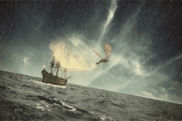 El dragón quemando un barco