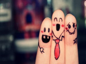 Postal: Tres amigos contentos