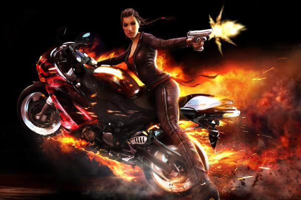 "Chica en moto en "" Wheelman"""