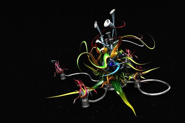 Instrumento 3D, con colores brillantes