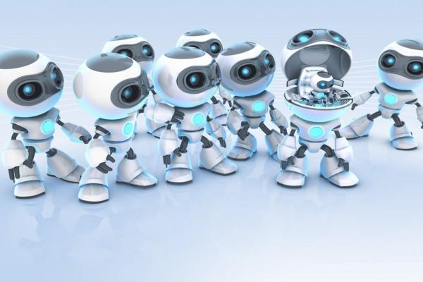Pequeños robots, blancos y azules
