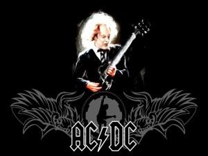 Postal: AC/DC en fondo negro