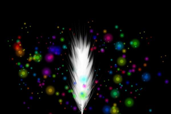 Pluma blanca y puntos de colores