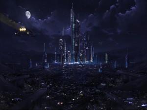 Noche en la ciudad futurista