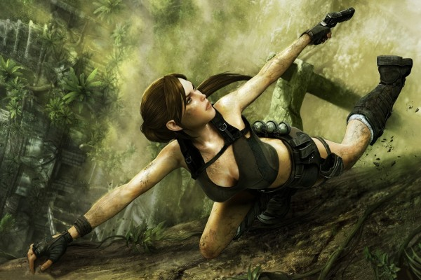 Lara Croft escalando (Tomb Raider)