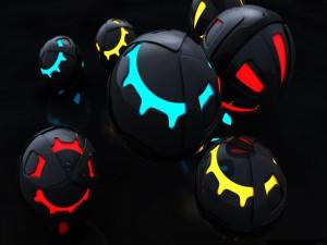 Postal: Esferas negras iluminadas