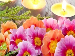 Postal: Velas encendidas y flores