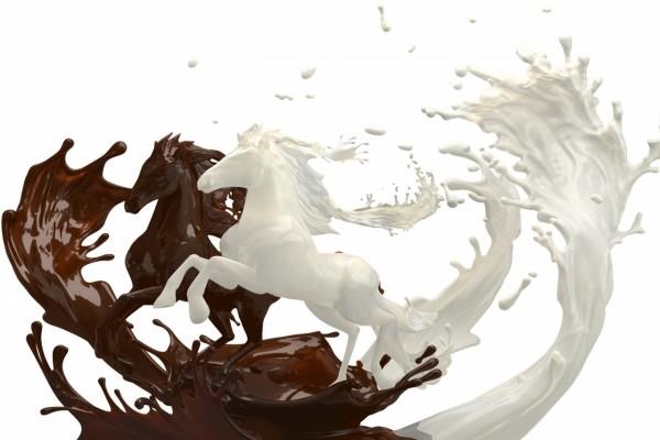 Caballos en 3D de chocolate y leche
