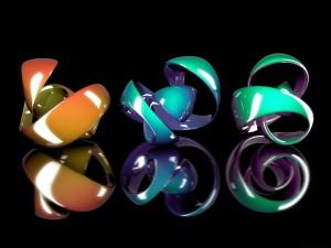 Postal: Piezas en 3D de distintos colores